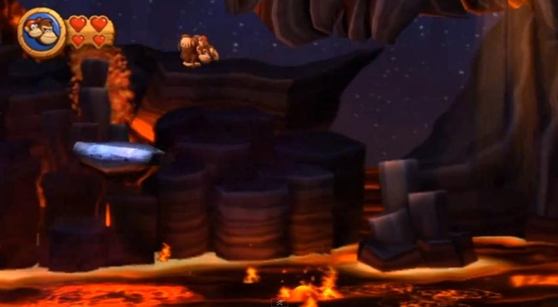 This level is so crazy that DK and Diddy survive this mad leap of faith. Radical!